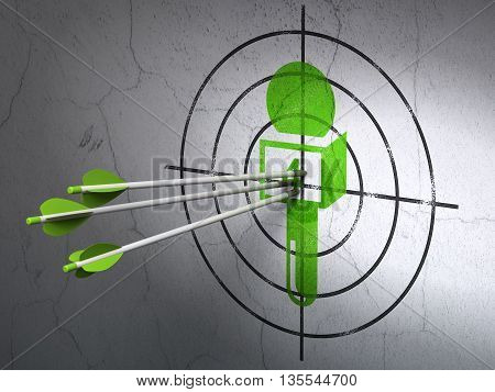 Success news concept: arrows hitting the center of Green Microphone target on wall background, 3D rendering