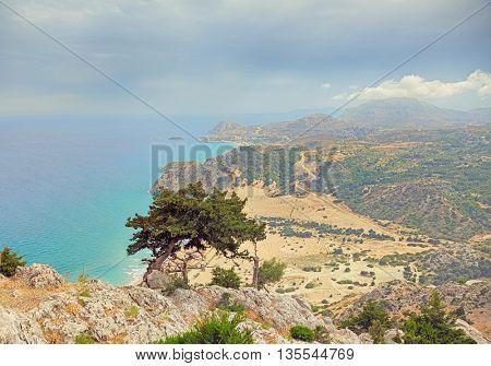 Beautiful Tsambika viewpoint landscape from mountain .Rhodes. Greece.  HDR photo