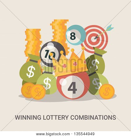 Lucky life concept vector illustration set Fortune money web.