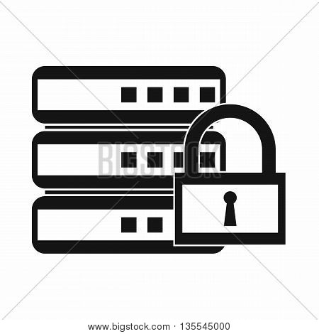 Database with padlock icon in simple style isolated on white background