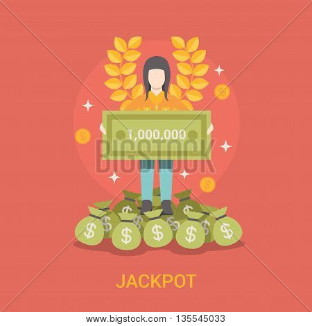 Lucky life concept vector illustration set Fortune Woman web.
