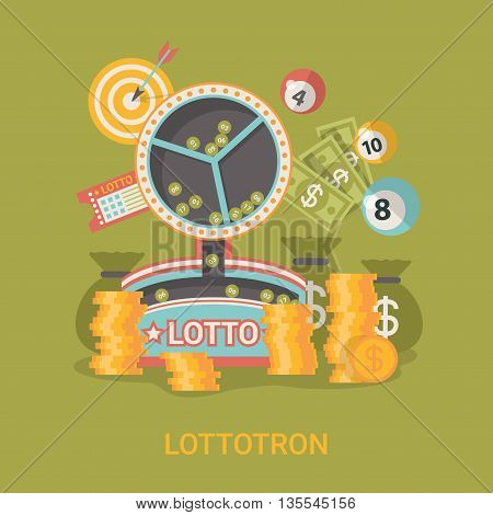 Lucky life concept vector illustration Fortune Flat Lottotron