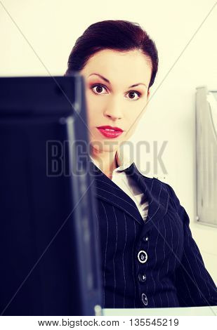 Shocked business woman.