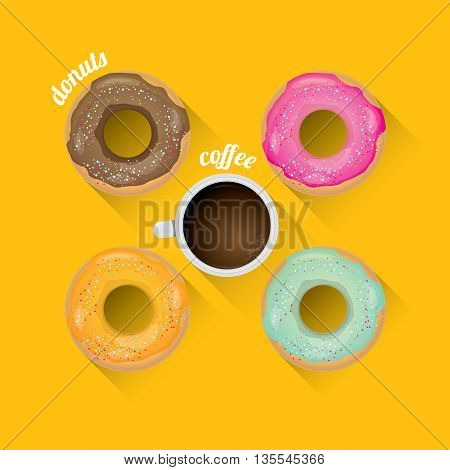 donuts coffee vector background. flat lay coffee cup and donuts