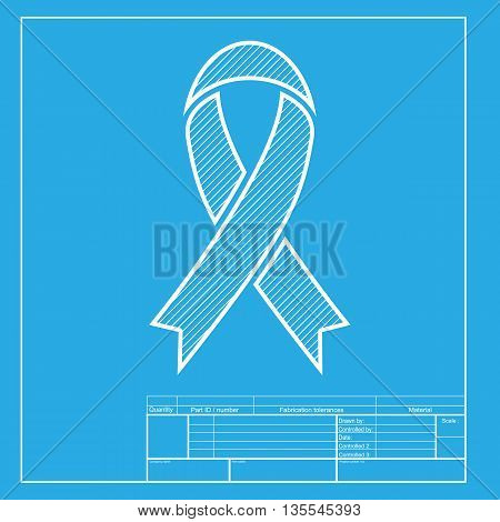 Black awareness ribbon sign. White section of icon on blueprint template.