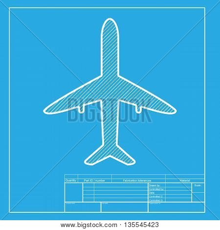 Airplane sign illustration. White section of icon on blueprint template.