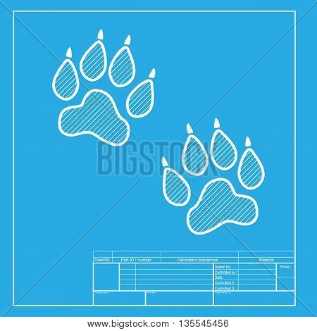 Animal Tracks sign. White section of icon on blueprint template.