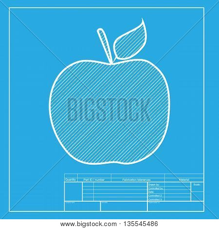 Apple sign illustration. White section of icon on blueprint template.