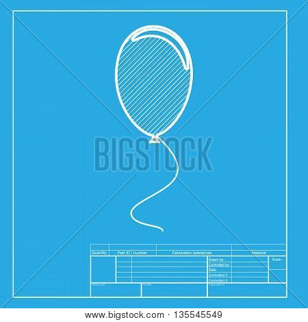 Balloon sign illustration. White section of icon on blueprint template.