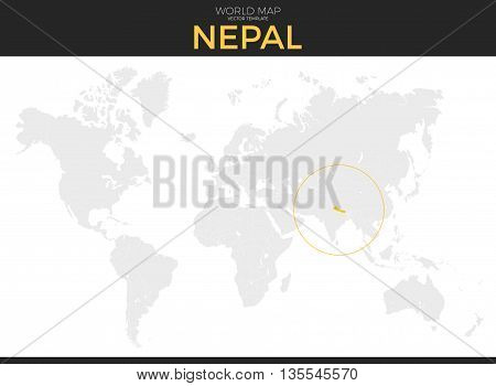 Federal Democratic Republic of Nepal location modern detailed vector map. All world countries without names. Vector template of beautiful flat grayscale map design with border location