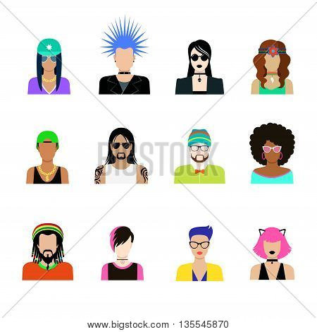 Subculture concept vector icon set. Man woman life illustration.