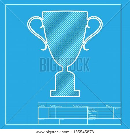 Champions Cup sign. White section of icon on blueprint template.