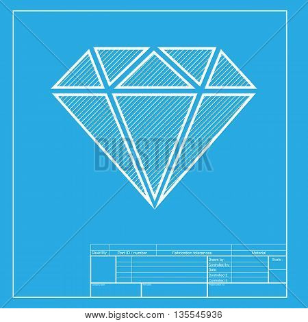 Diamond sign illustration. White section of icon on blueprint template.