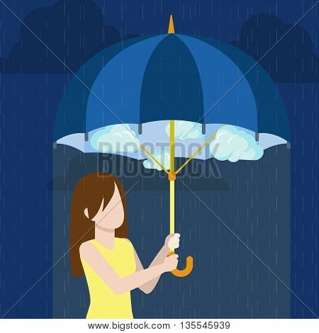 Defend defense trouble woman umbrella flat style vector concept