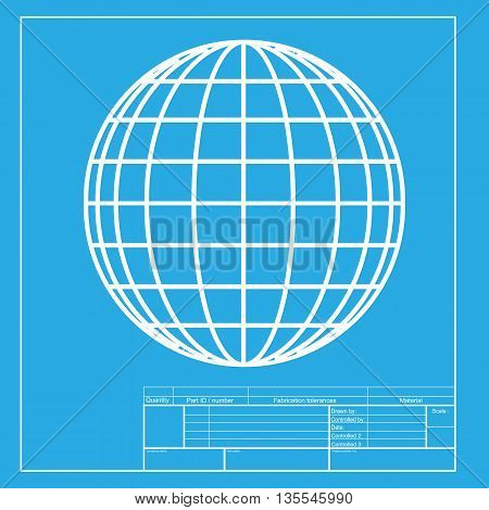 Earth Globe sign. White section of icon on blueprint template.