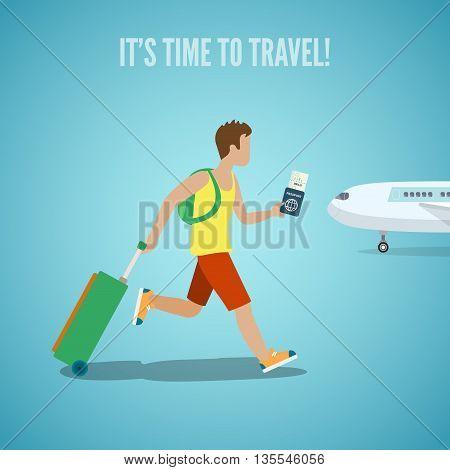 Time travel agency web site flyer brochure vector illustration