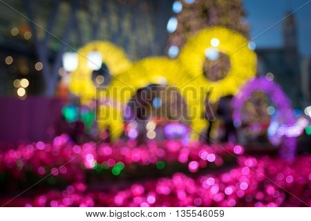 Christmas festive light blurred with bokeh, Abstract background