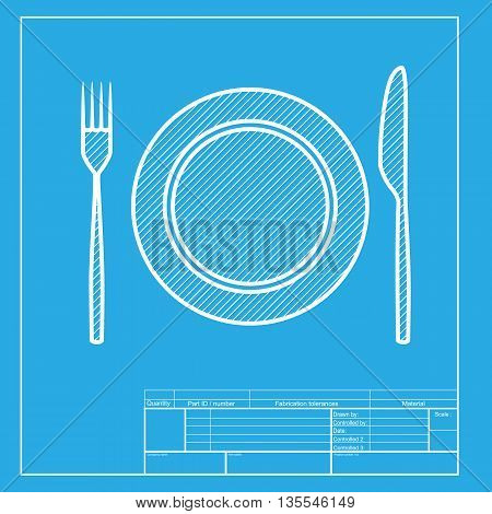 Fork, tape and Knife sign. White section of icon on blueprint template.