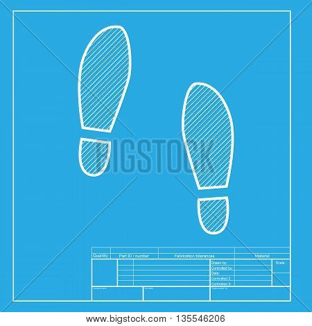 Imprint soles shoes sign. White section of icon on blueprint template.