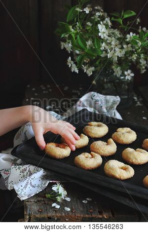 child takes homemade cookies from the pan shot with natural light