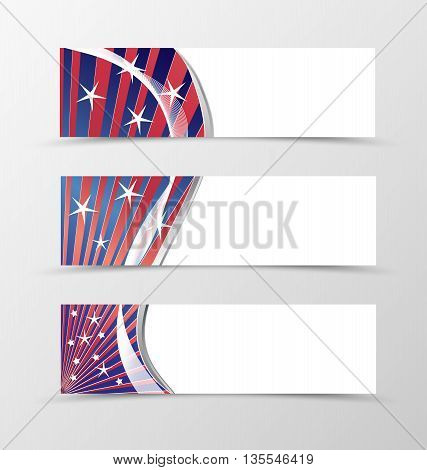 Set of banner wavy design. Blue banner for header with red lines and white stars. Design of banner in bright colorful style. Vector illustration