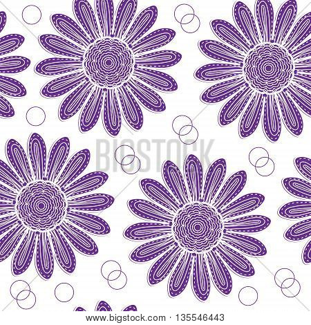 Floral seamless pattern of purple chrysanthemum hand drawing style. Purple flowers wallpaper texture. Vector illustration