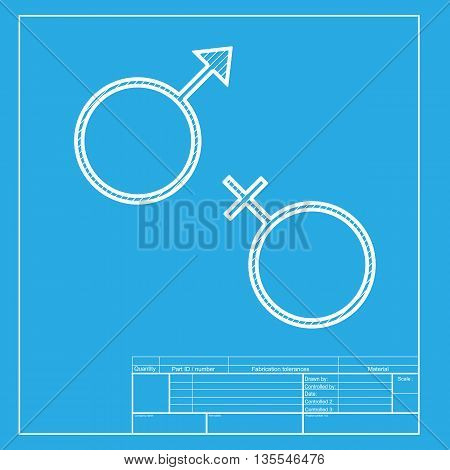 Sex symbol sign. White section of icon on blueprint template.