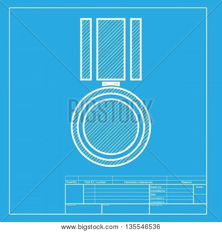 Medal sign illustration. White section of icon on blueprint template.