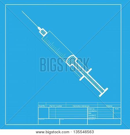 Syringe sign illustration. White section of icon on blueprint template.