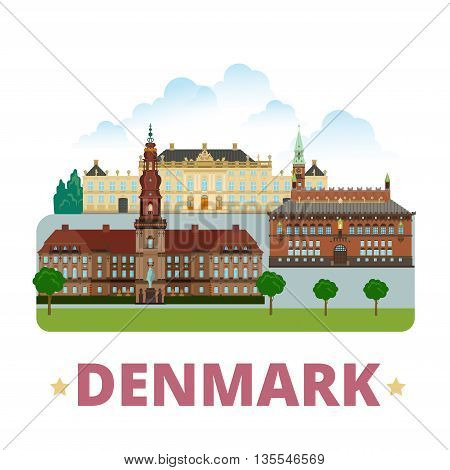 Denmark country design template Flat cartoon style web vector