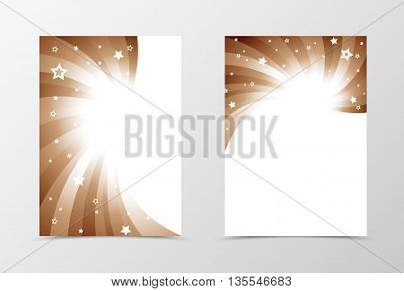 Flyer template swirl design. Abstract flyer template in coffee with milk colors with stars. Bright wavy flyer design. Vector illustration