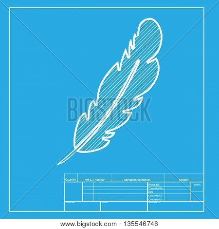Feather sign illustration. White section of icon on blueprint template.