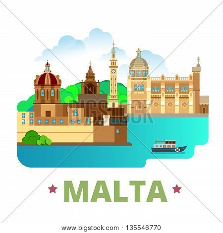 Malta country design template Flat cartoon style web vector