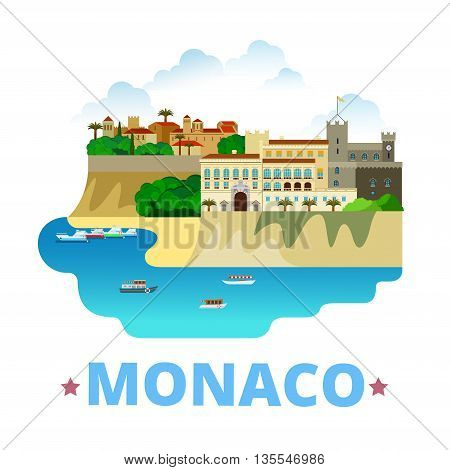 Monaco country design template Flat cartoon style web vector