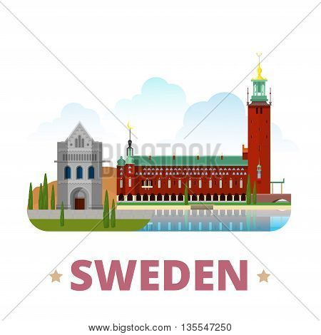 Sweden country design template Flat cartoon style web vector