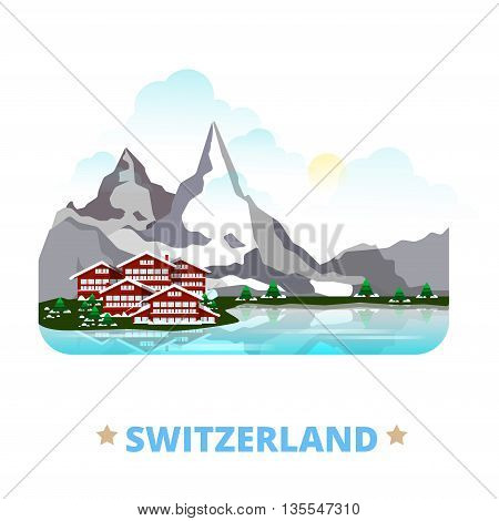 Switzerland country design template Flat cartoon style web vector