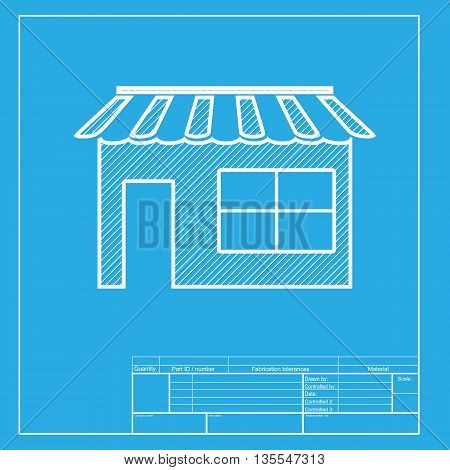 Store sign illustration. White section of icon on blueprint template.