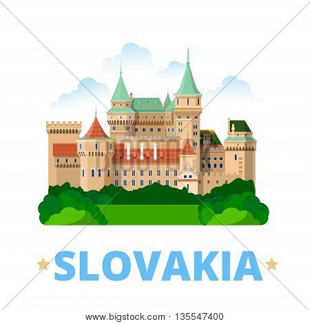 Slovakia country design template Flat cartoon style web vector