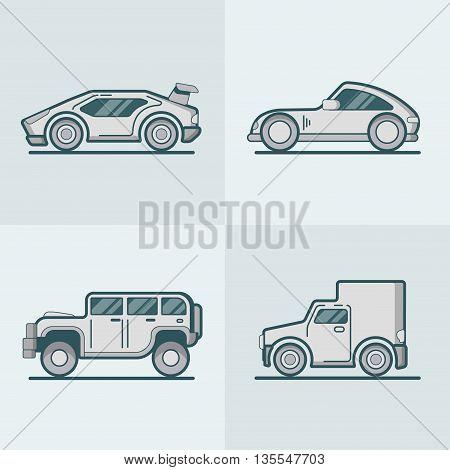 Sportscar jeep van transport Linear stroke outline flat vector