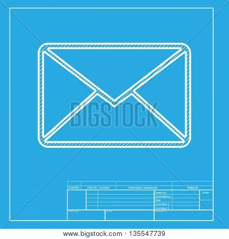 Letter sign illustration. White section of icon on blueprint template.