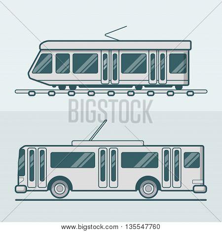 Tram tramway trolley transport Linear stroke outline flat vector