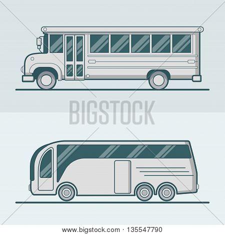 Bus school tourist transport Linear stroke outline flat vector