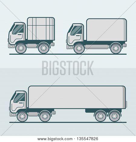 Truck lorry van transport Linear stroke outline flat vector