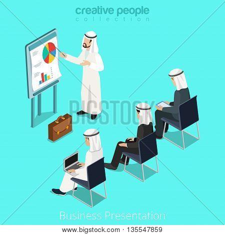 Isometric arabic islamic man business report vector illustration