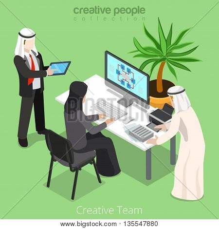 Isometric arabic islamic team work business office space vector