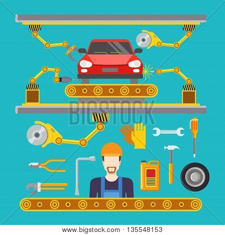 Flat car repair fix service line conveyor robot concept Vector