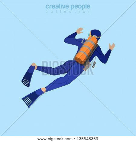 Isometric diver in aqualung back view. Flat 3d isometry style