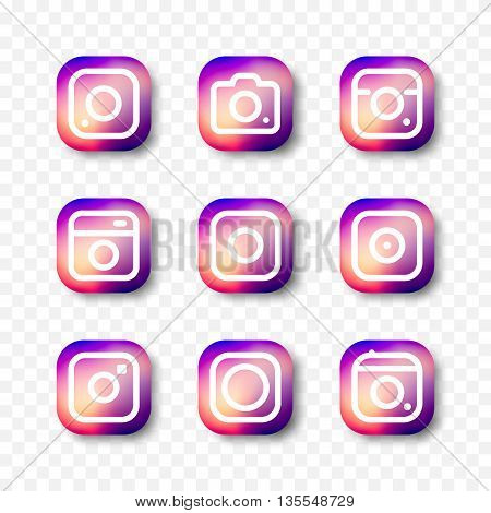 Social media hipster camera vector Icon. Trendy thin camera icon on multicolored smooth gradient set of nine different icons on a transparent background.