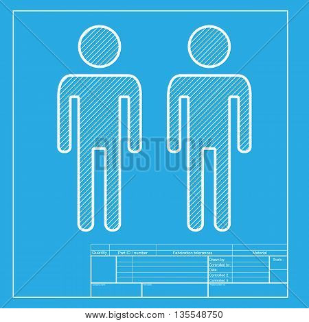 Gay family sign. White section of icon on blueprint template.