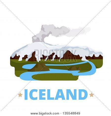 Iceland country design template Flat cartoon style web vector